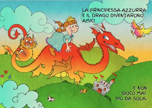 Azzurra e il drago diventano amici